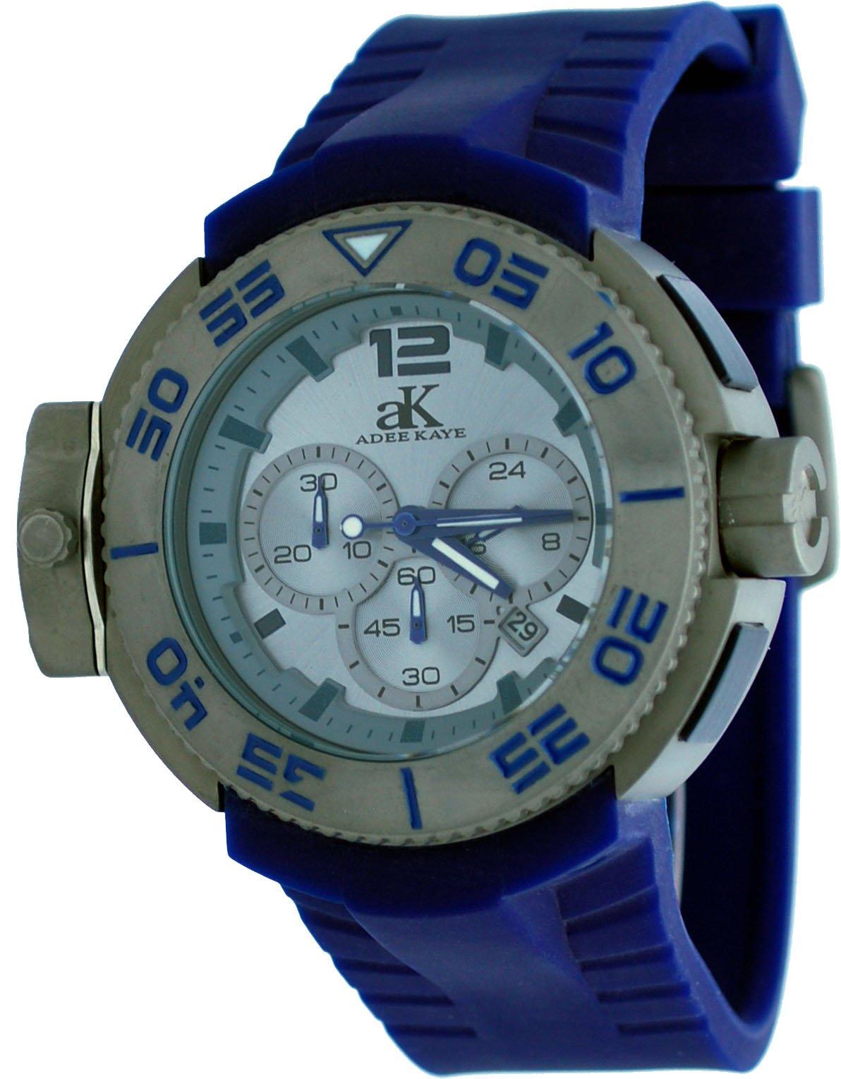 Adee Kaye #AK8006-MIPG Men's Grey IP Resin Band Dual Time Chrongraph Watch by Adee Kaye