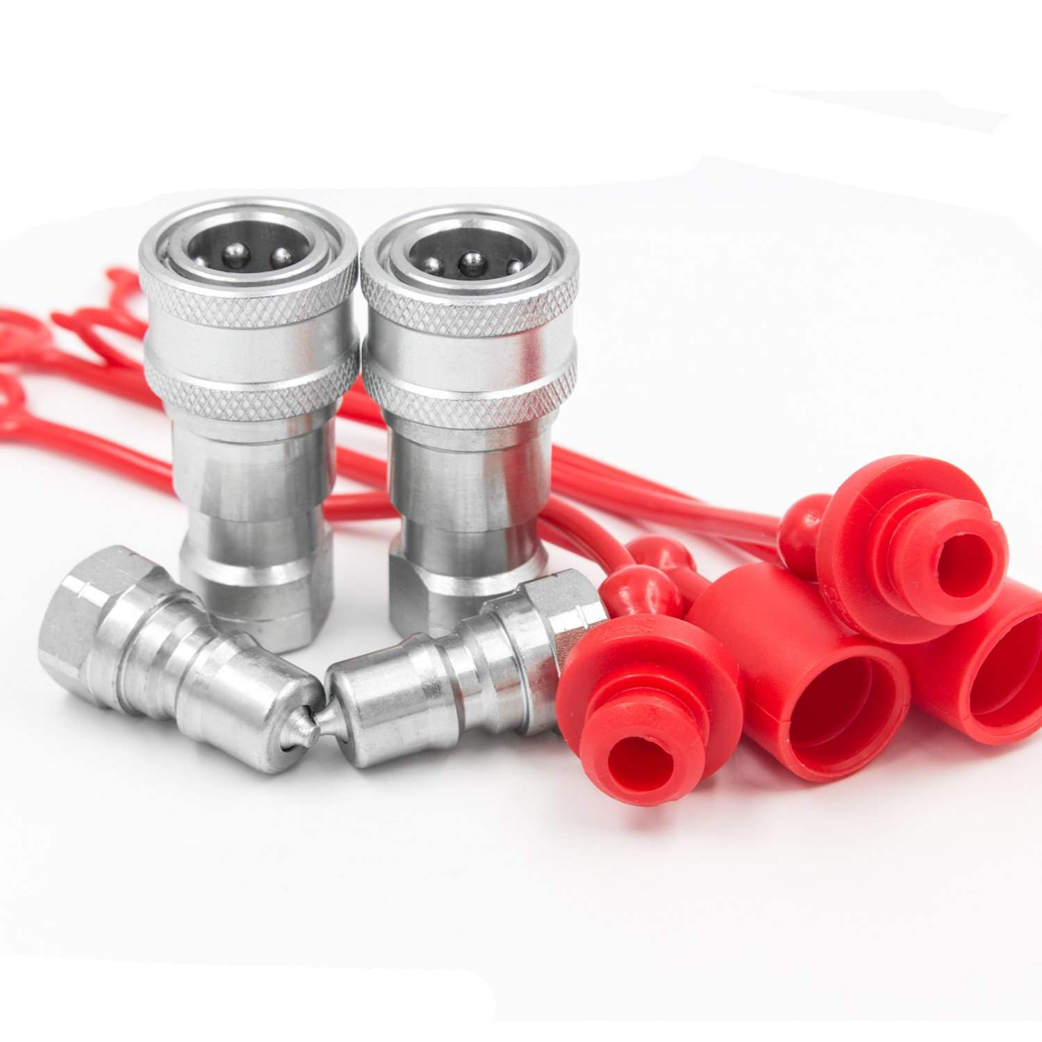 2 Sets 1/4'' NPT Thread ISO-B Hydraulic Quick Disconnect Coupler Tractor Quick Coupling with Dust Caps
