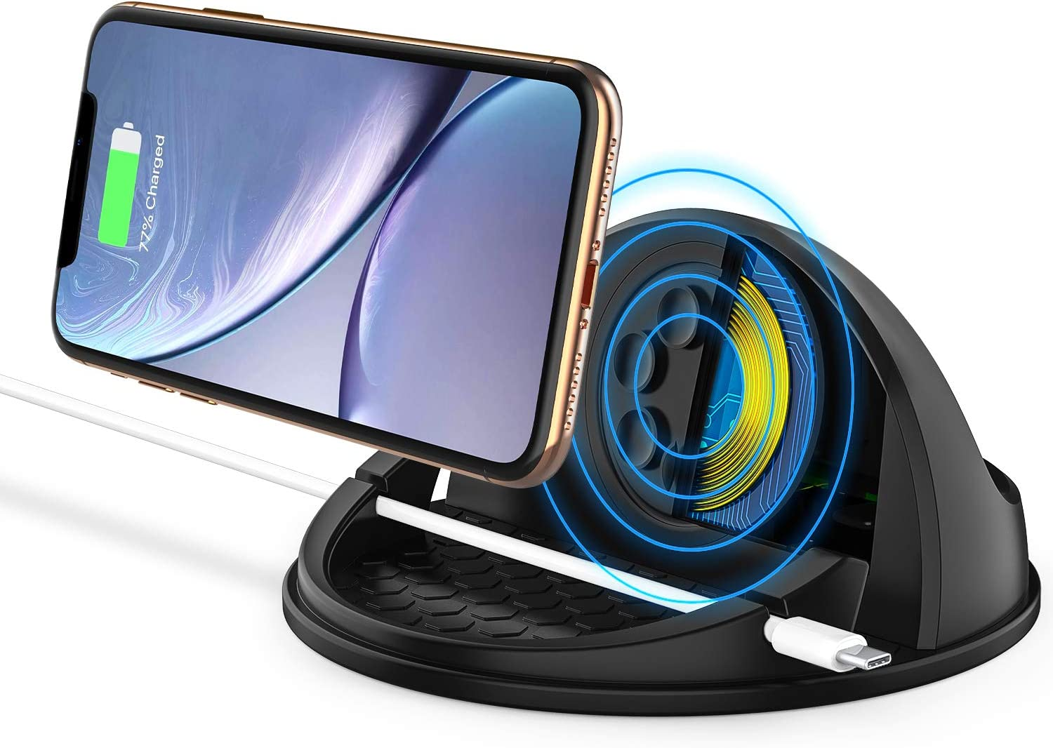 Wireless Car Charger Mount,Qi-Certified Car Wireless Charging Stand Compatible with iPhone 11 pro/X/XS Max/XR/8/Samsung Galaxy S9 / S10/,Silicone Car Phone Holder Dashboard Desk