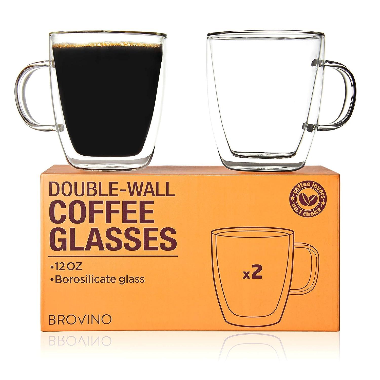 Amazoncom Large Double Wall Glass Coffee Mugs With Handle Set Of
