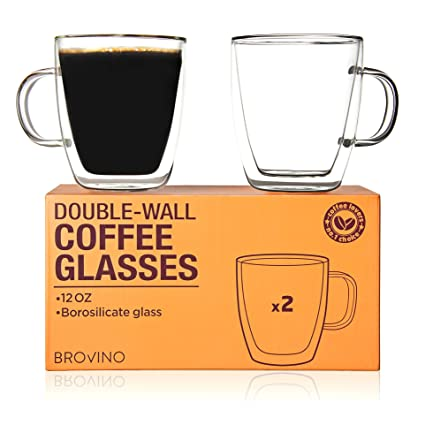 6e65007a6fe Amazon.com: Large Double Wall Glass Coffee Mugs with Handle - Set of 2 Insulated  Tea Glass Cups of 12 oz - 350 ml: Kitchen & Dining