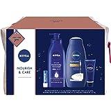 NIVEA Nourish & Care Gift Set, 4 Piece Skin Care Set - Body Lotion, Body Wash, Lip Balm and Creme, Travel Bag Included