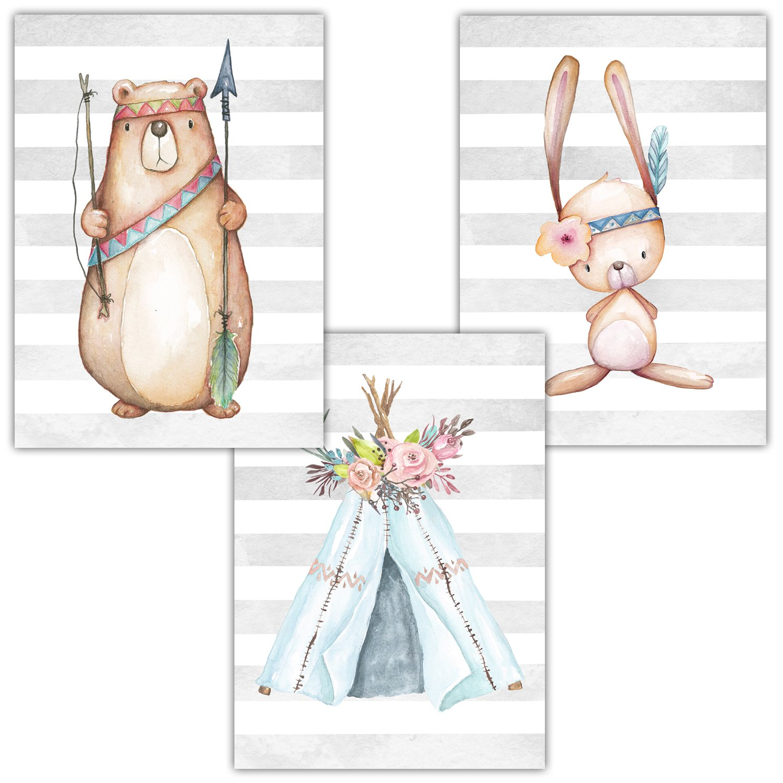 Frechdax 3er Set Kinderzimmer Babyzimmer Poster Bilder Din A4