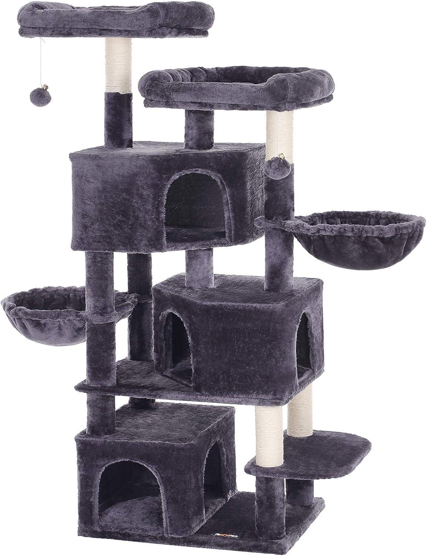 FEANDREA Árbol Grande para Gatos con 3 Cuevas para Gatos, Torre para Gatos de 164 cm, Gris Ahumado PCT98G