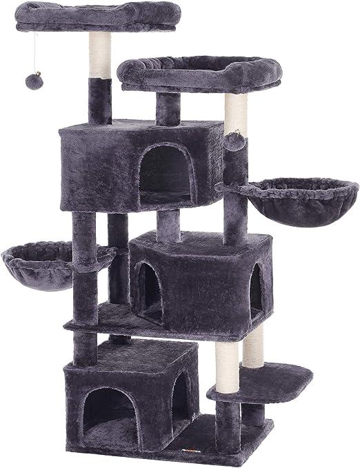 FEANDREA Árbol Grande para Gatos con 3 Cuevas para Gatos, Torre para Gatos de 164 cm, Gris Ahumado PCT98G: Amazon.es: Productos para mascotas