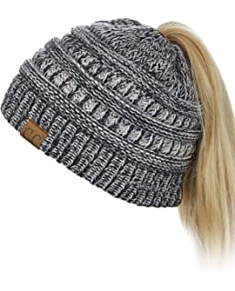 144f1afd C.C BeanieTail Soft Stretch Cable Knit Messy High Bun Ponytail Beanie Hat