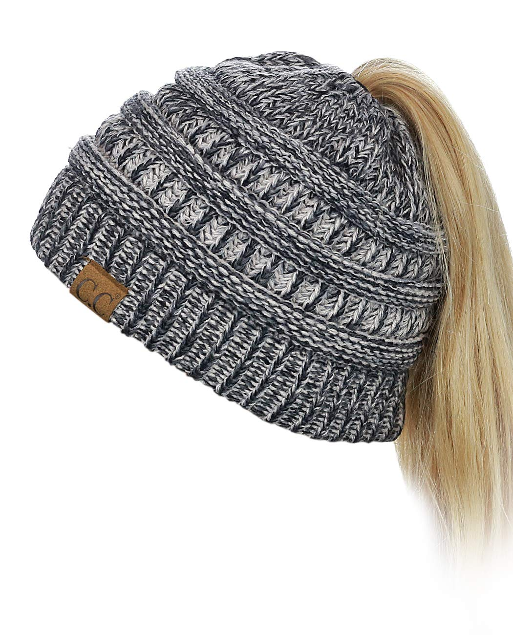 C.C BeanieTail Soft Stretch Cable Knit Messy High Bun Ponytail Beanie Hat, 3 Tone Gray
