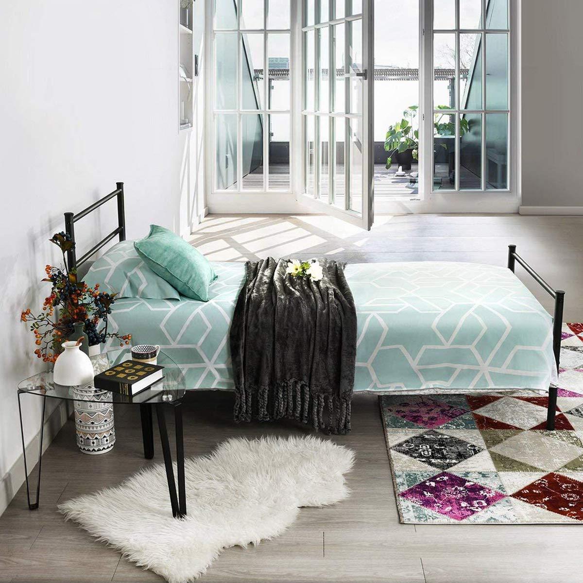Aingoo Cama individual Estructura de cama de metal con listones ...