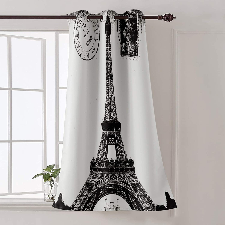 "Futuregrace Window Decor Vintage Blackout Curtains, Paris Eiffel Tower Black White Livingroom Bedroom Darkening Window Draperies & Curtains for Sliding Glass Door Home Office Decor 52"" W by 63"" L"