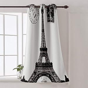 Futuregrace Window Decor Vintage Blackout Curtains, Paris Eiffel Tower Black White Livingroom Bedroom Darkening Window Draperies & Curtains for Sliding Glass Door Home Office Decor 52
