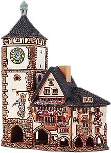 Ceramic Cone Incense Burner and Incense Cone Holder | Miniature Replica of The Original Schwabentor in Freiburg | R347