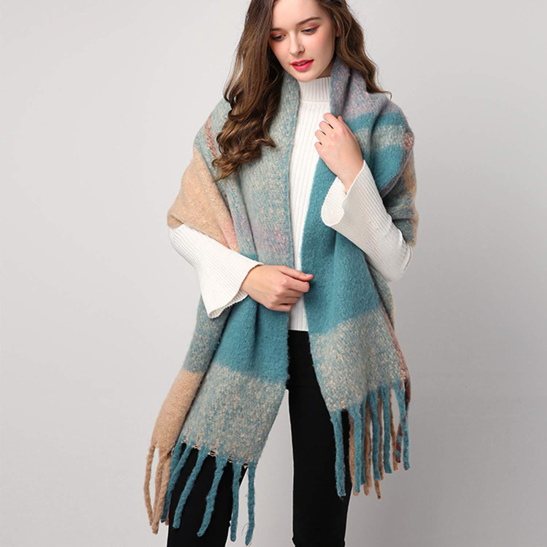 Oversized Womens Scarfs Big Tartan Blanket Pashimina Ladies Scarves Shawl for Winter