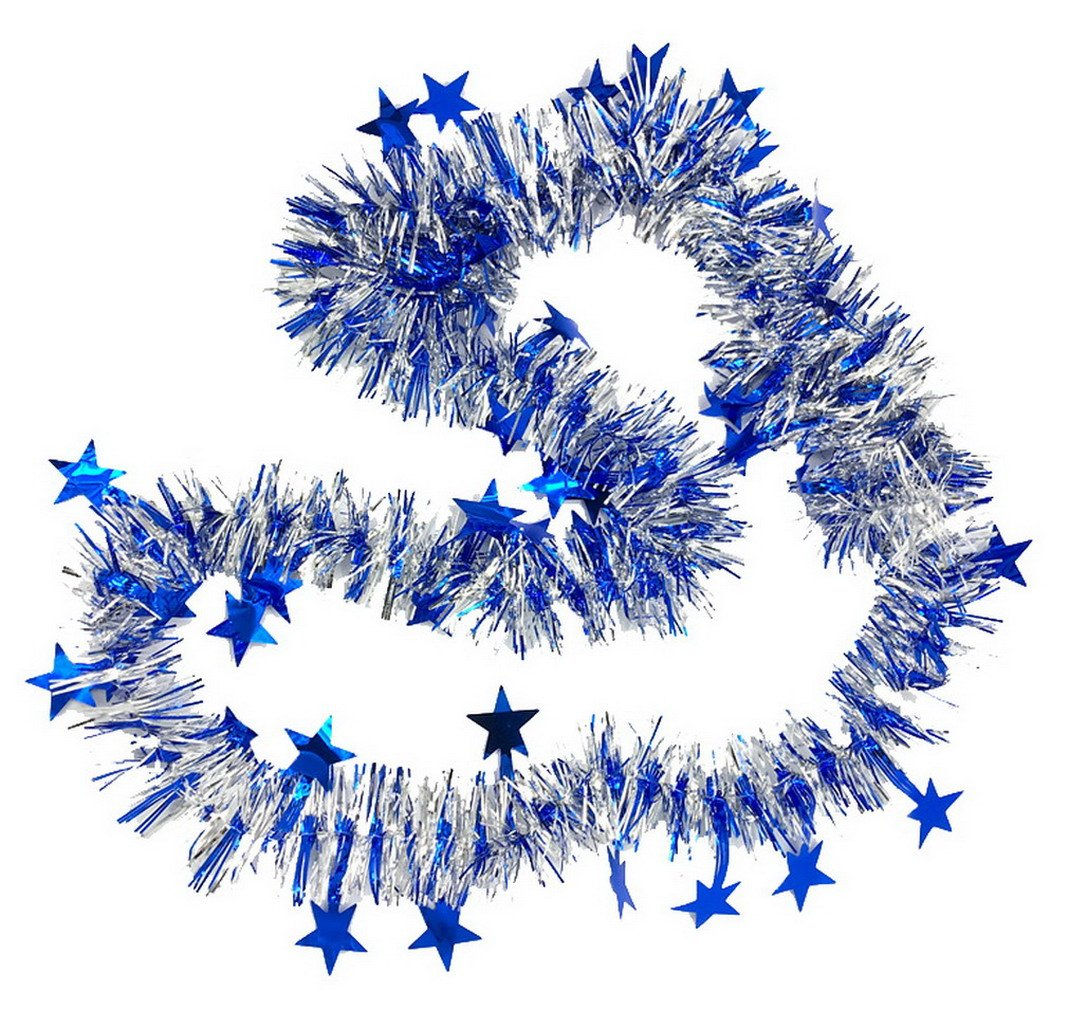 GEMVIE 4 Pcs Guirlande De No/ël Rouge Bleu Jaune Argent M/étalliques Dor/é /Étoile Sapin d/'Arbre 2M D/écoration Brillante Scintillant F/ête Anniversaire