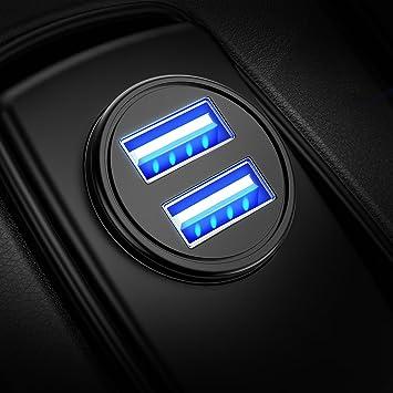 DIVI Cargador de Coche con Doble USB Puerto Cargador Móvil 5V/4.8A/24W, Adaptador Automóvil con Fast Charging Mini Small Size para Phone X / 8/8 Plus ...