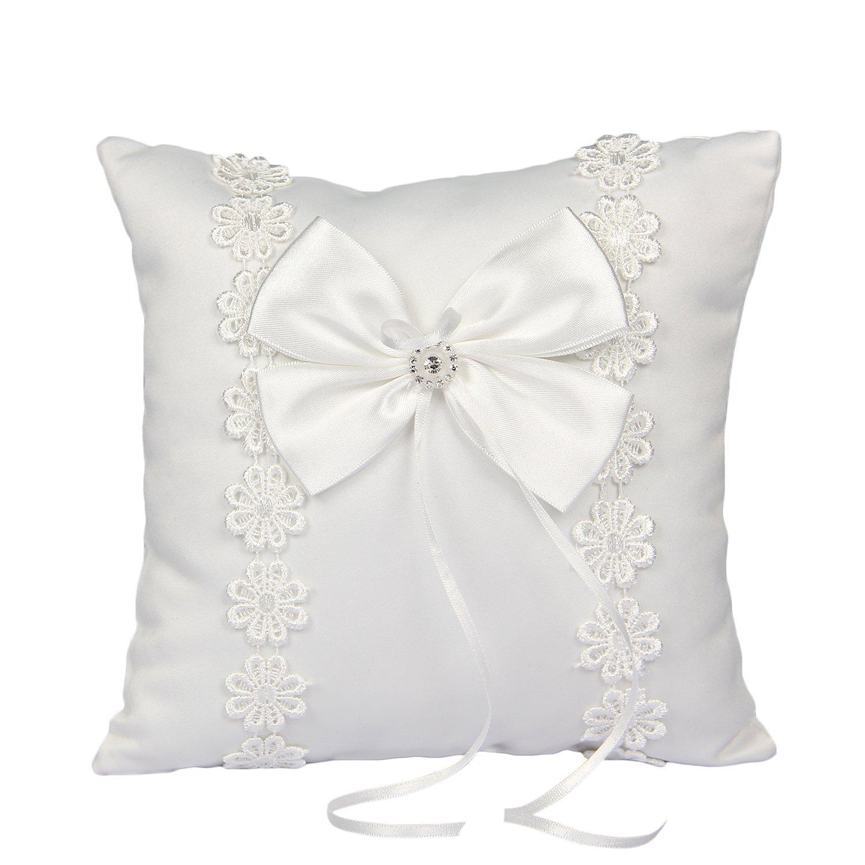 Somnr® Elegant Ring Bearer Pillow for Wedding Party Prom (White)