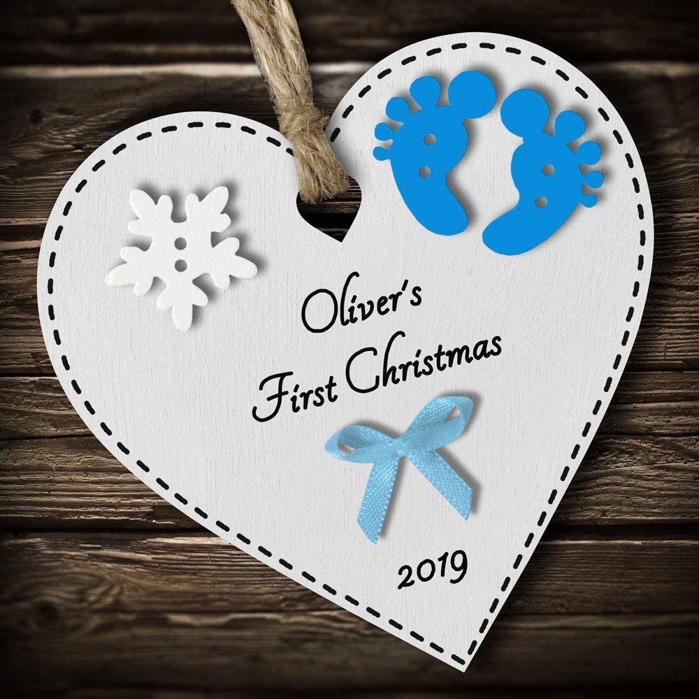 hanging white wooden heart Christmas decoration 2019 any colour text