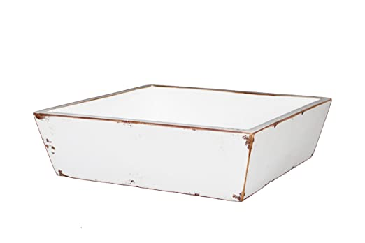 Christmas Tablescape Decor - White distressed antique style square tray