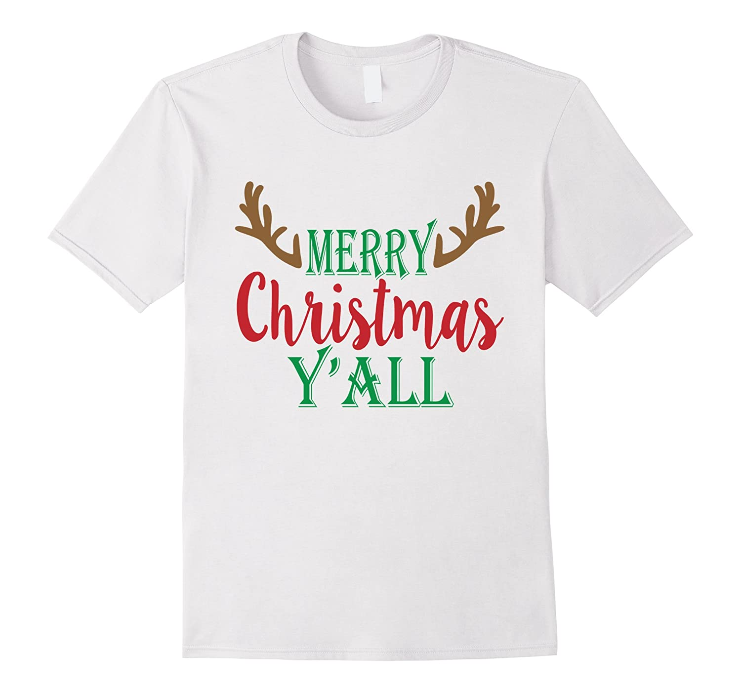 Merry Christmas Y'all Reindeer Country Gift T-Shirt-Art