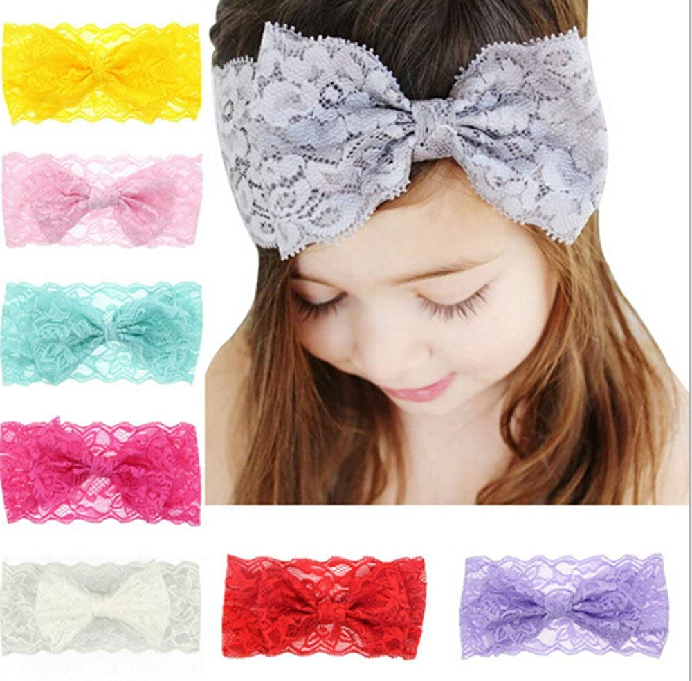Amazon.com  IMagicoo 8 PCS Baby Girl s Beautiful Soft Lace Turban Headbands  Head Wrap Knotted Hair Band Mixed Color (1)  Clothing 7989f67b917