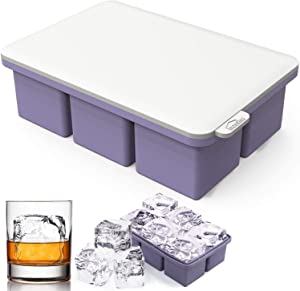 Large Ice Cube Tray Silicone with Lid, Square Ice Cube Mold for Whiskey,6 Cavity Giant Ice Cube Maker Keep Drink Chilled,Easy Release Reusable Mold Maker for Chilling Wine Cocktail Beverage Juice Soup