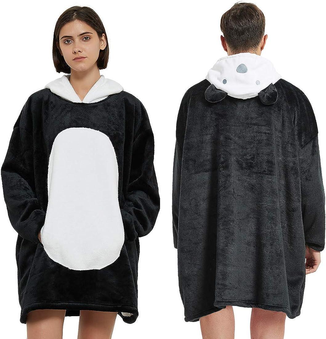 BALCONY /& FALCON Coperta Felpa con Cappuccio Oversize Sherpa Coperta del Maglione della Peluche Coperta con Maniche Pigiama Cosplay per Donna e Uomo
