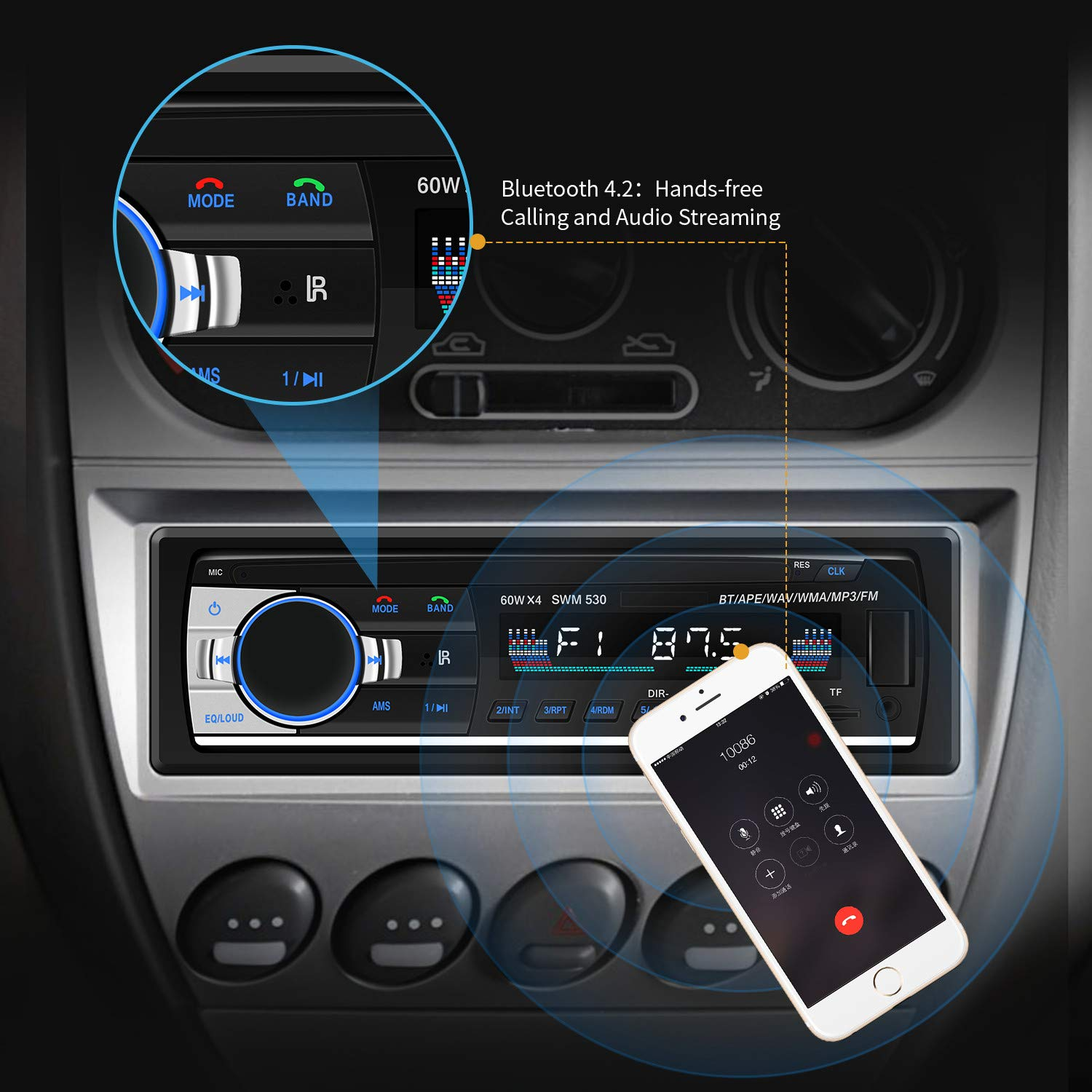 Car Radio AM//FM Media Receiver Built-in Microphone USB Port and SD Card Slot CENXINY Single DIN MP3 Car Stereo Receiver with Bluetooth 4.2