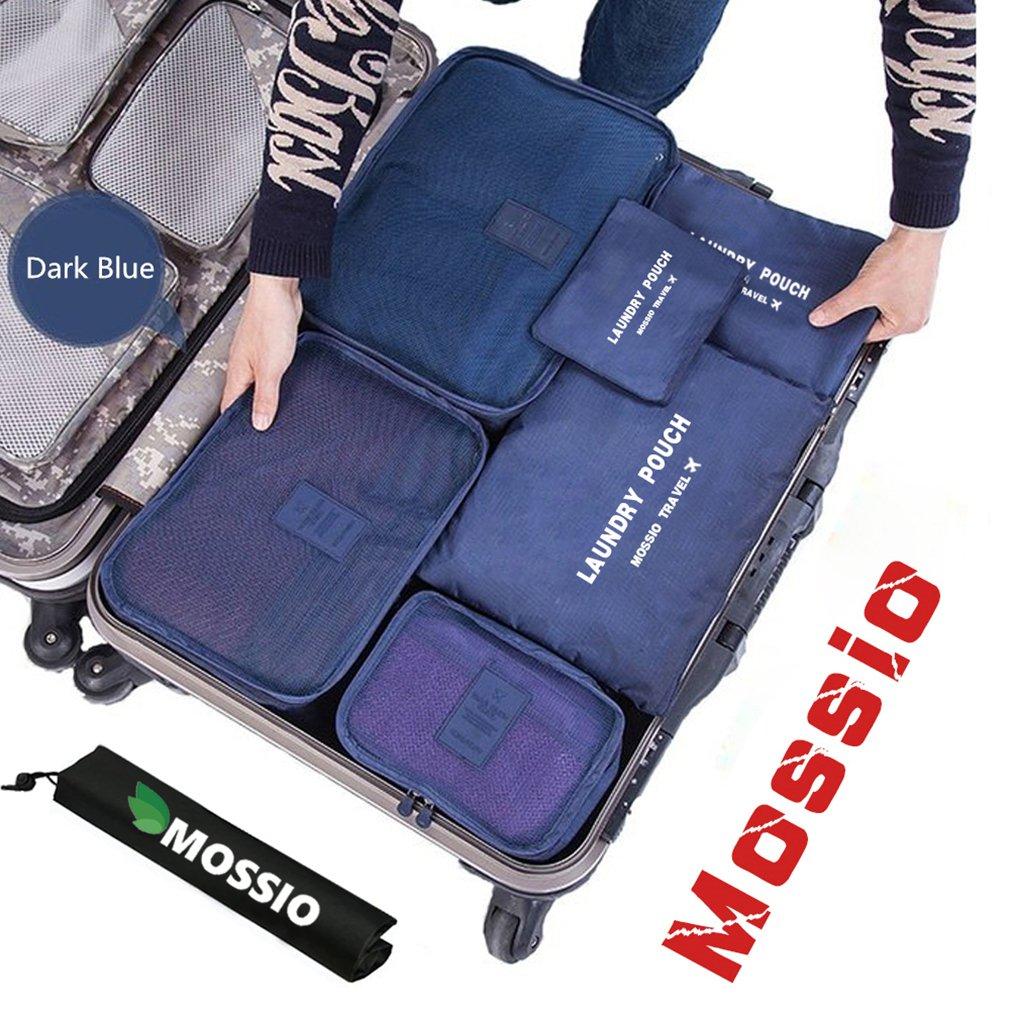 Packing Cubes,Mossio 7 Sets Waterproof Lightweight Laundry Organizer Dark Blue