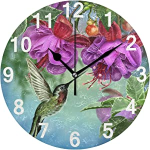 ZZKKO Tropical Floral Hummingbird Wall Clock, Silent Non Ticking Battery Operated Easy to Read Decorative Wall Clock for Kitchen Bedroom Bathroom Living Room Classroom