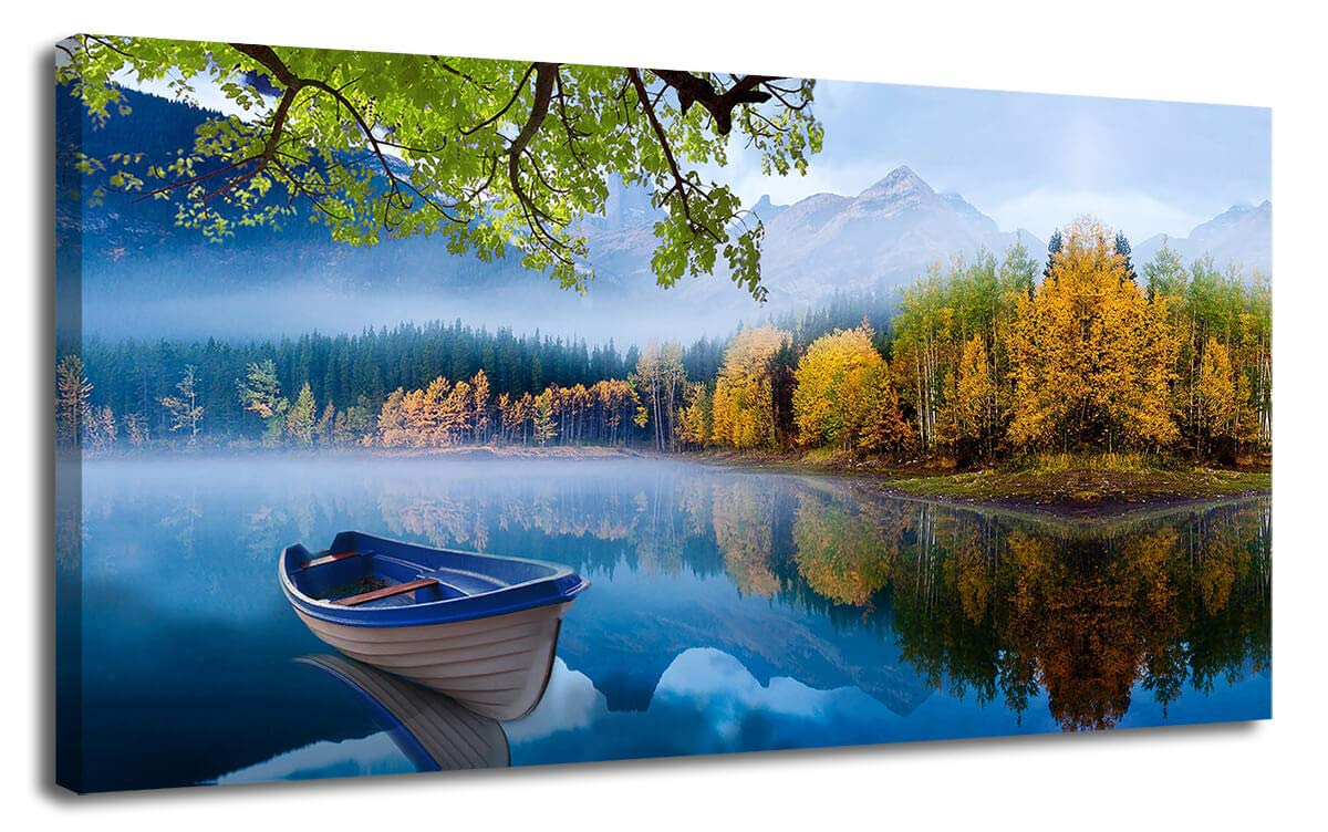 "Canvas Wall Art Prints Blue Sky Lake Natural Landscape One Panel 40""x20"" Panoramic Mountain Picture Artwork Autumn Framed Painting Ready to Hang for Living Room Bedroom Kitchen Bathroom Decorations"