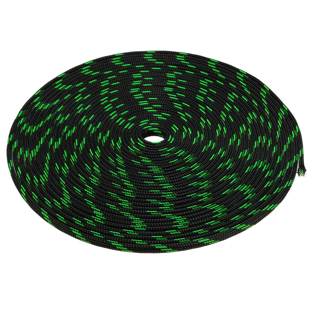 uxcell PET Braided Sleeving 32.8 Feet 10m Expandable Cable Wrap 4mm Diameter Wire Sheath Black,Green