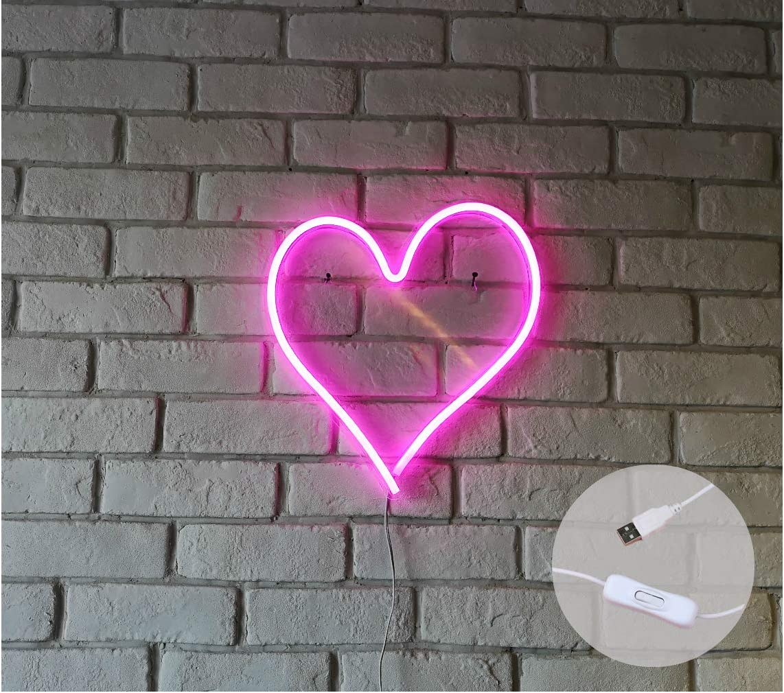 """Britrio LED Neon Light Sign, 13.4""""x12.6"""" Heart Shape Neon Sign Wall Hanging Sign Wall Art for Bar Kid's Bedroom Living Room Party,Home Decor Neon Night Light USB Powered with ON/OFF Switch(Pink Heart)"""
