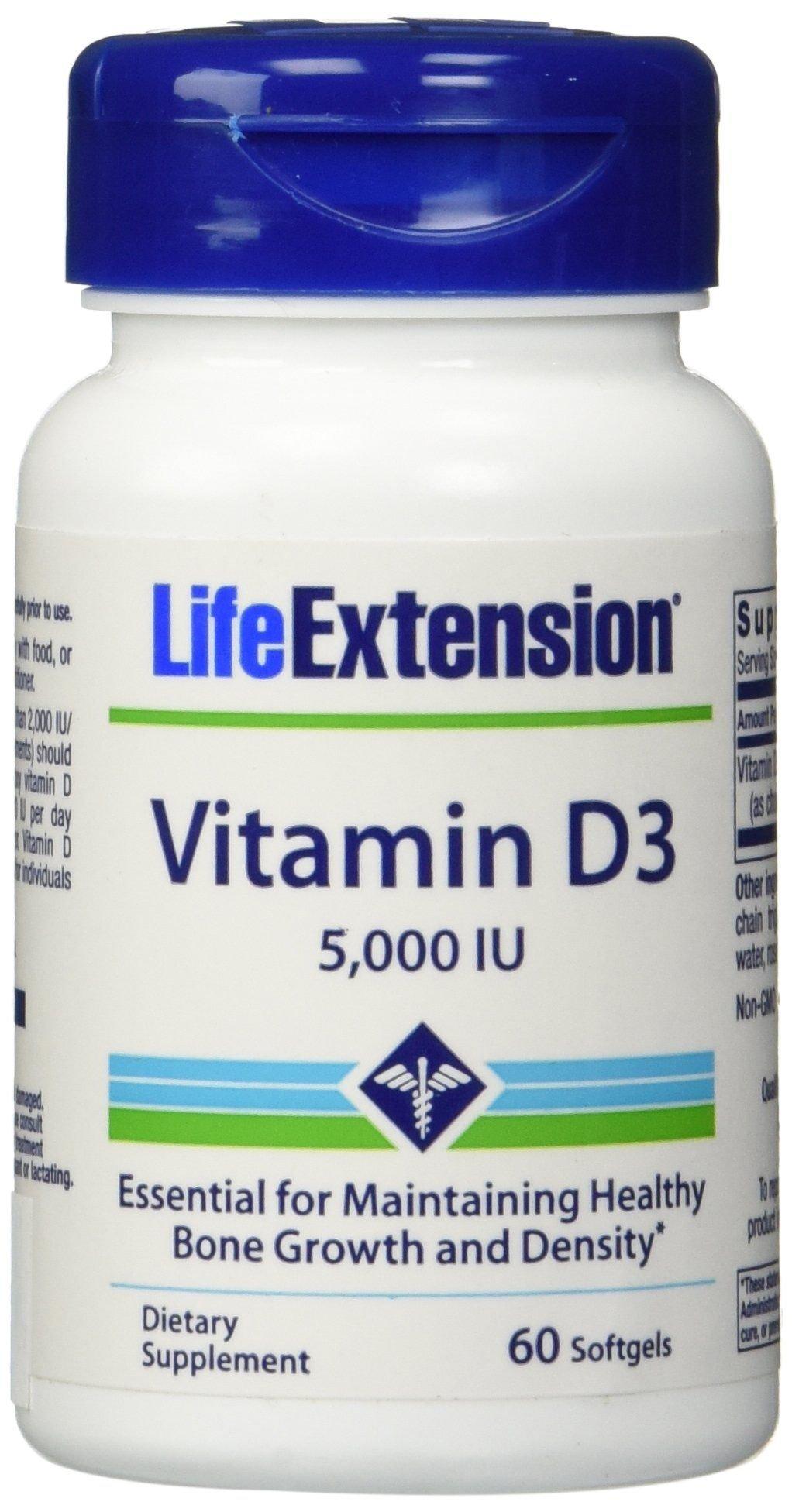 Life Extension Vitamin D3 5000 IU 60 softgels (Pack of 2)