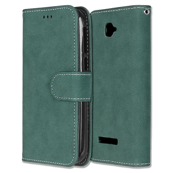 Alcatel One Touch Pop C7 Hülle, Chreey Matt Leder Tasche Retro Handyhülle Magnet Flip Case mit Kartenfach Geldbörse Schutzhül