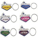 Key Chain - Welcome to Fabulous Las Vegas Nevada Souvenir Enamel Keychains (Pack of 6 Assorted Colors)