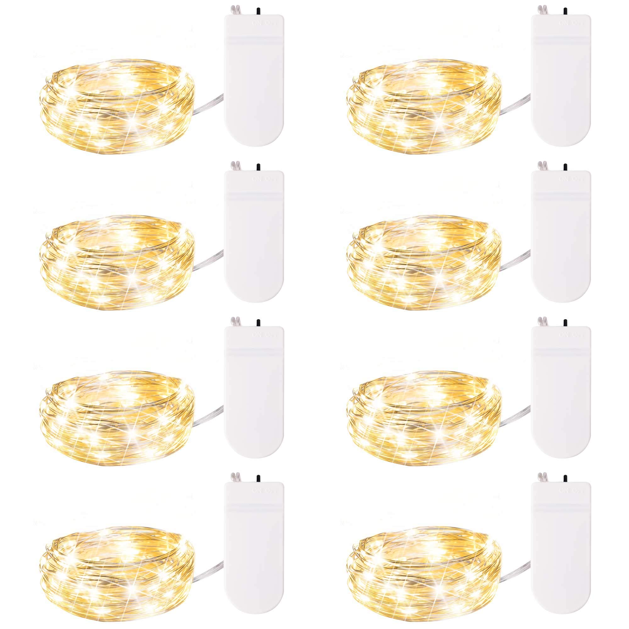Pack of 8pcs 20LEDs Micro Starry Moon Lights on Silver Extra Thin Copper Wire, 2 x CR2032 Batteries Required and Included, 7 Feet for DIY Wedding Centerpiece(Warm White)