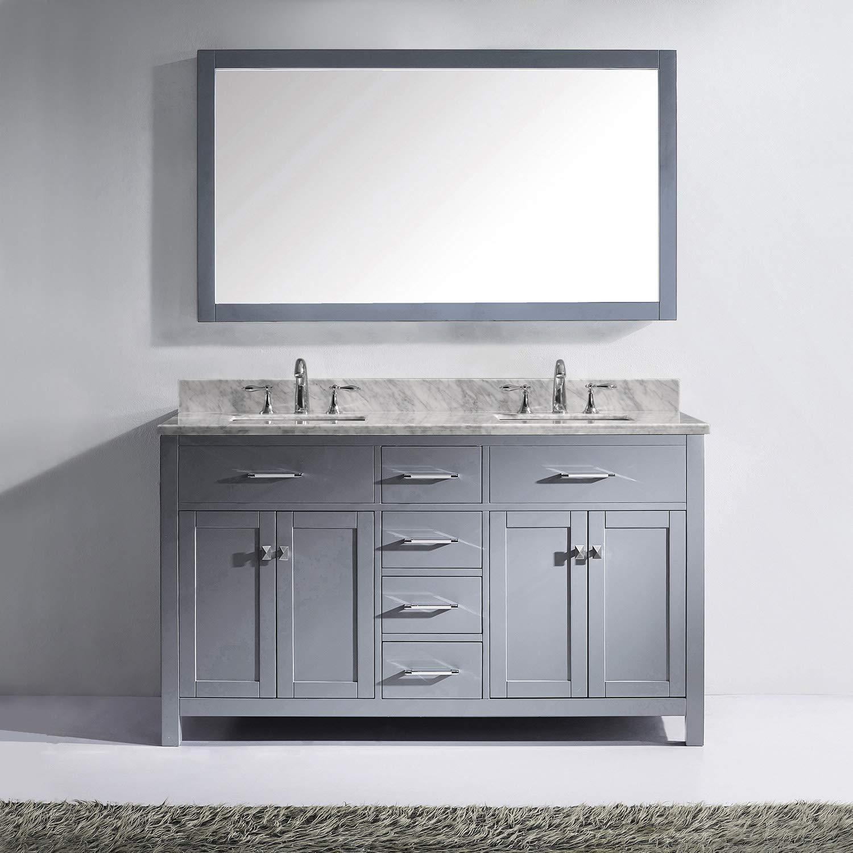 1 Mirror No Faucet Italian Carrara White Marble Countertop MD-2060-WMSQ-GR Virtu USA Caroline 60 inch Double Sink Bathroom Vanity Set in Grey w// Square Undermount Sink