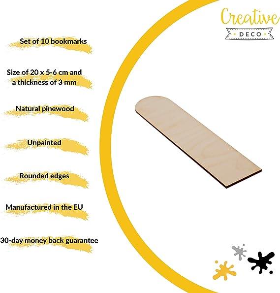 Creative Deco 10 x Lesezeichen FormenSperrholz Ausschnitte2 Varianten