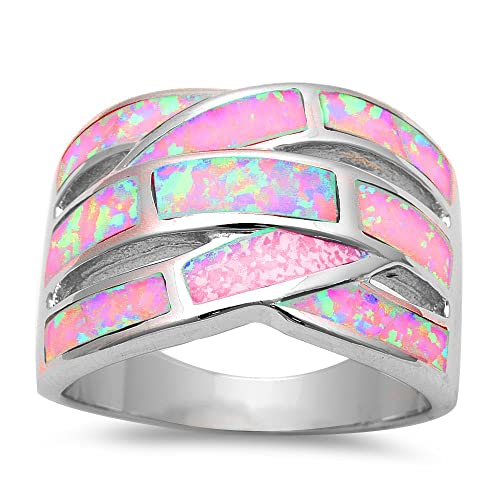 Oxford Diamond Co Lab Created Pink Opal .925 Sterling Silver Fashion Ring Sizes 5-11
