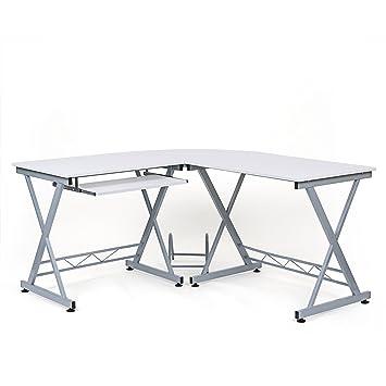 Songmics Computertisch, Holzspanplatte, Weiß, 150 X 138 X 75 Cm