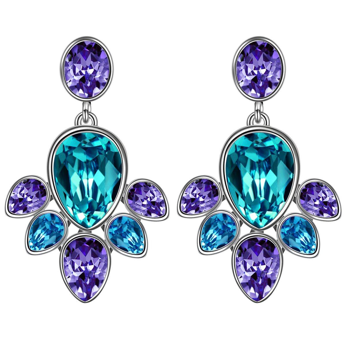 Susan Y Blüte Ohrringe Damen mit Steinen von SWAROVSKI Geschenk Blau ...