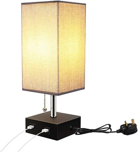 Lampe De Chevet Carree Avec Abat Jour En Tissu Lampe De Table De