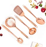 Copper Cooking Utensils for Cooking/Serving, Rose Gold Kitchen Utensils -Stainless Steel Copper Serving Utensils Set 5…