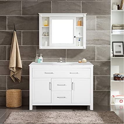 Prime Harperbright Designs Bathroom Vanity With Ceramic Sink Top 47 Single Sink White Download Free Architecture Designs Pushbritishbridgeorg