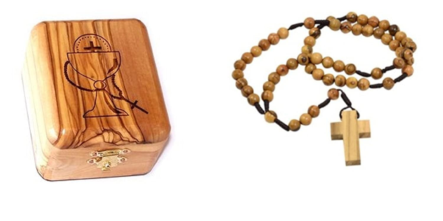 Holy Soil Silver Crucifix Bethlehem Olive Wood First Communion Jewelry Box with Rosary by Bethlehem Gifts TM