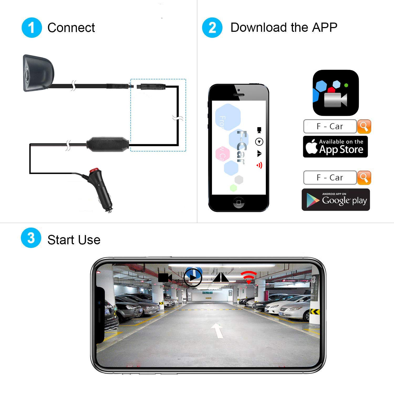 sixsun Wireless WiFi Blind Spot Camera Front Reverse//Right View Side Camera Mirror//Non-Mirror Cam for iOS//Android Smart Devices by APP yck 5558989974 WiFi Blind Spot//Front Camera 12V