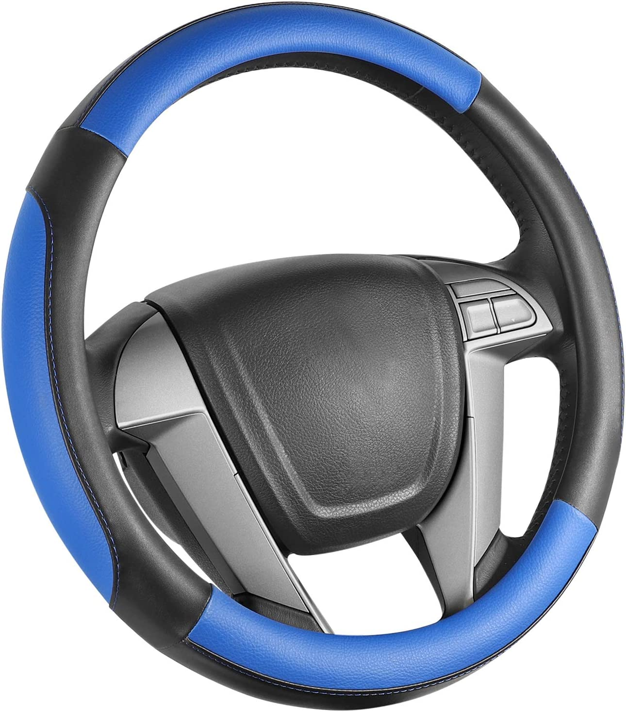 SEG Direct Car Steering Wheel Cover Small-Size for Prius Civic Model 3 Camaro Spark Rogue Mini Smart Audi with 14 inches-14 1/4 inches Outer Diameter, Blue Mirofiber Leather