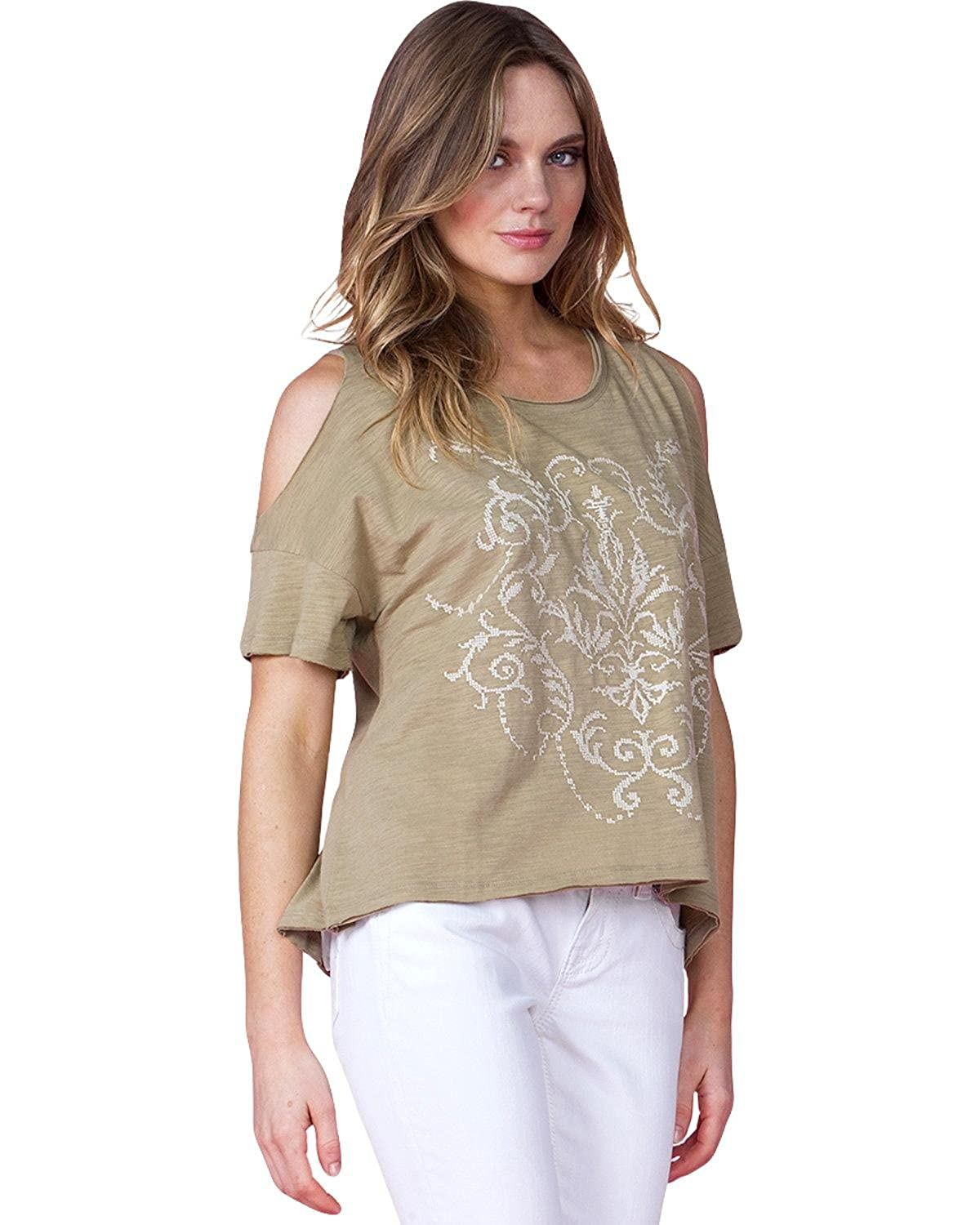 bea05ba8d7567 Miss Me Women s Olive Open Shoulder Shirt Olive Small at Amazon Women s  Clothing store