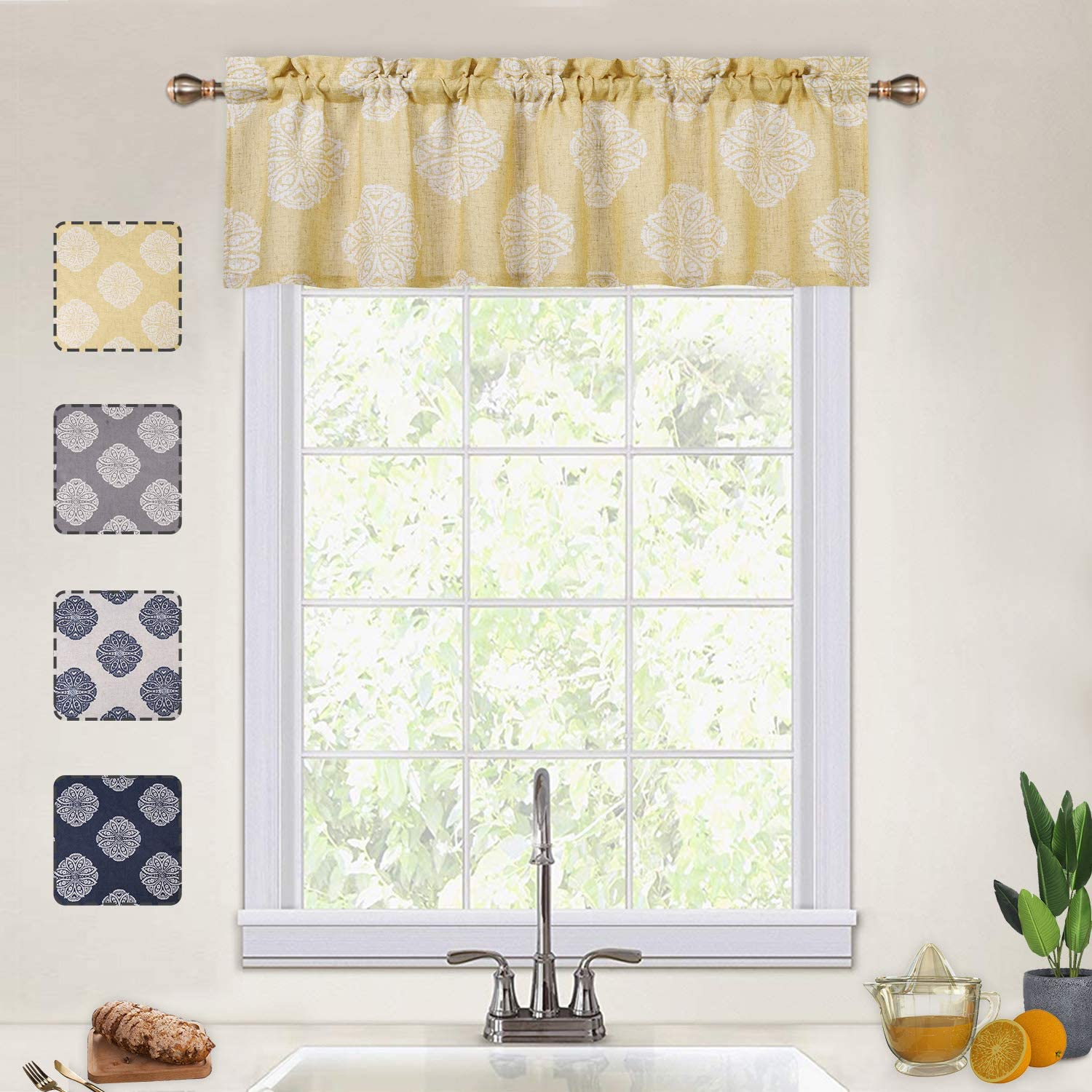 CAROMIO Yellow Valances for Kitchen, Floral Medallion Damask Print Linen Blended Valance Curtains for Bathroom Small Curtains for Cafe Kitchen Windows, Yellow, 54x15 Inch