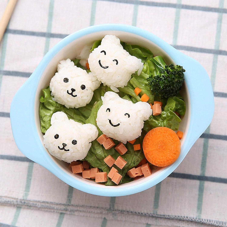 Kid Bento Box Decoration DIY Cute Cartoon Sushi Tool Nori With Punch Embossing Device libelyef Mini Bear Rice Ball Mold