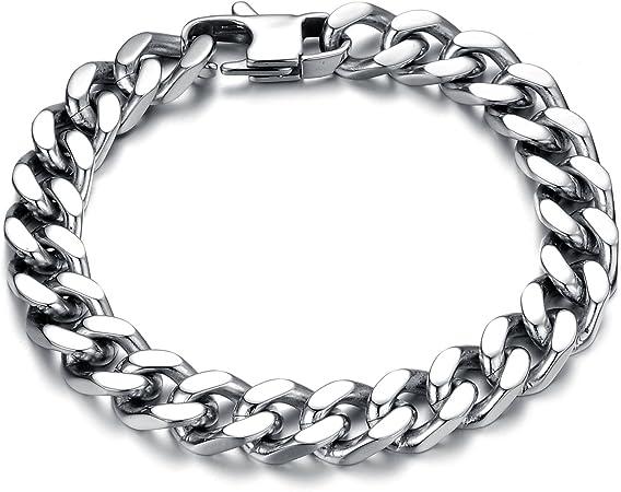8-12MM Edelstahl Armband Armkette Kette Armschmuck Panzerkette Biker Herrenkette